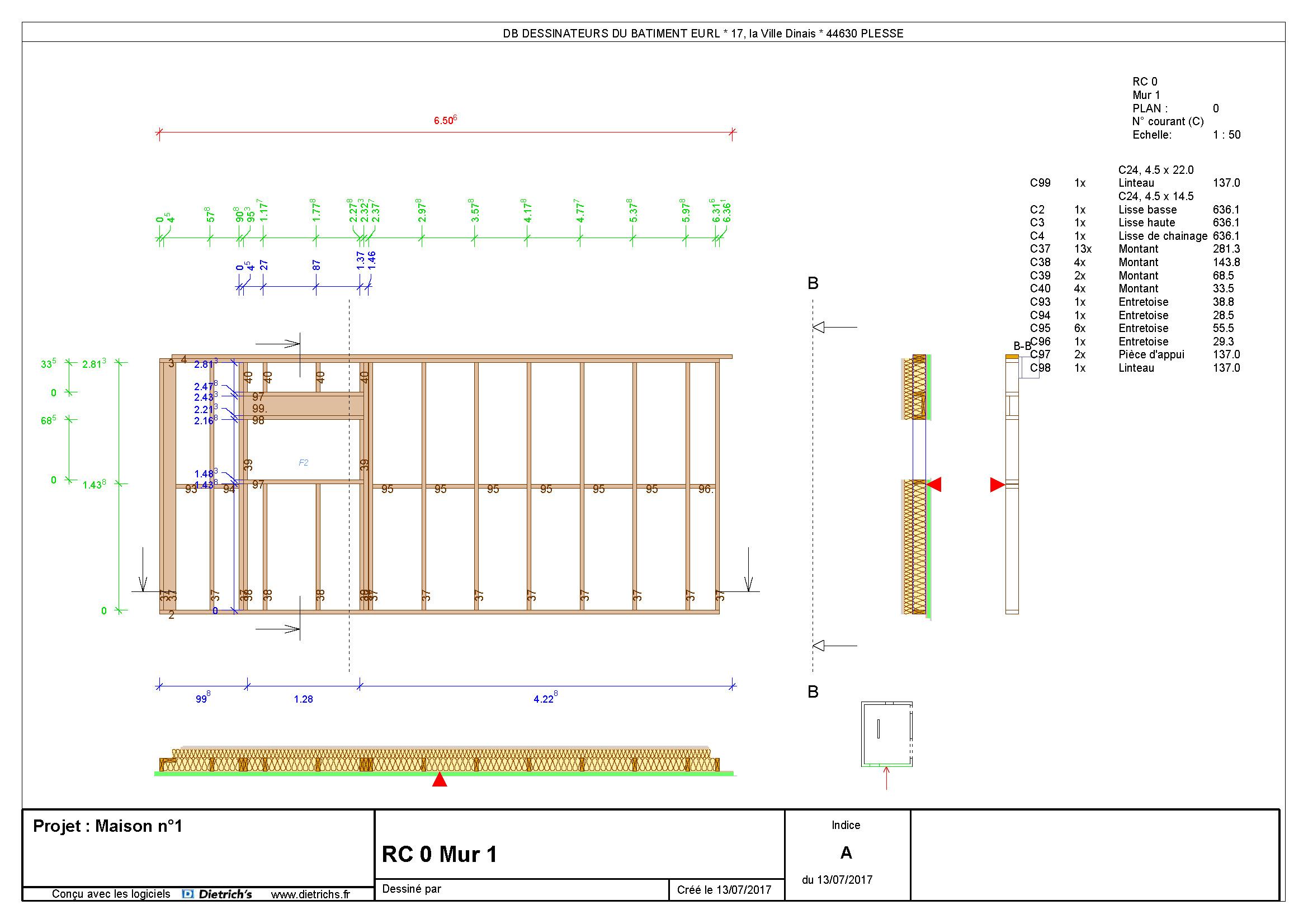 Plan de mur ossature bois 1