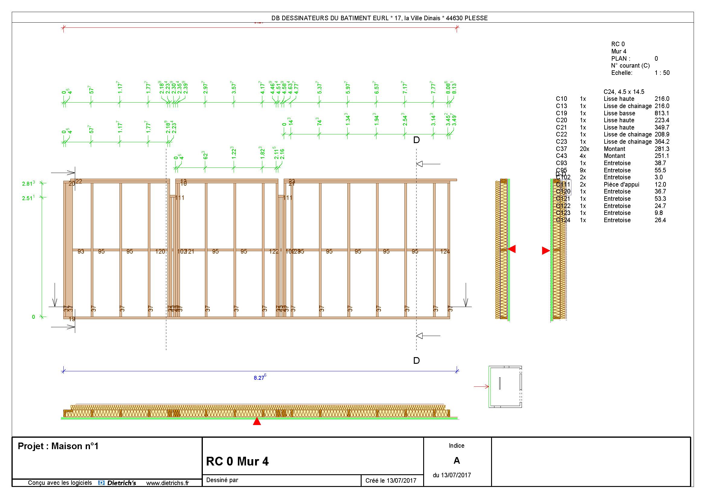 Plan de mur ossature bois 4