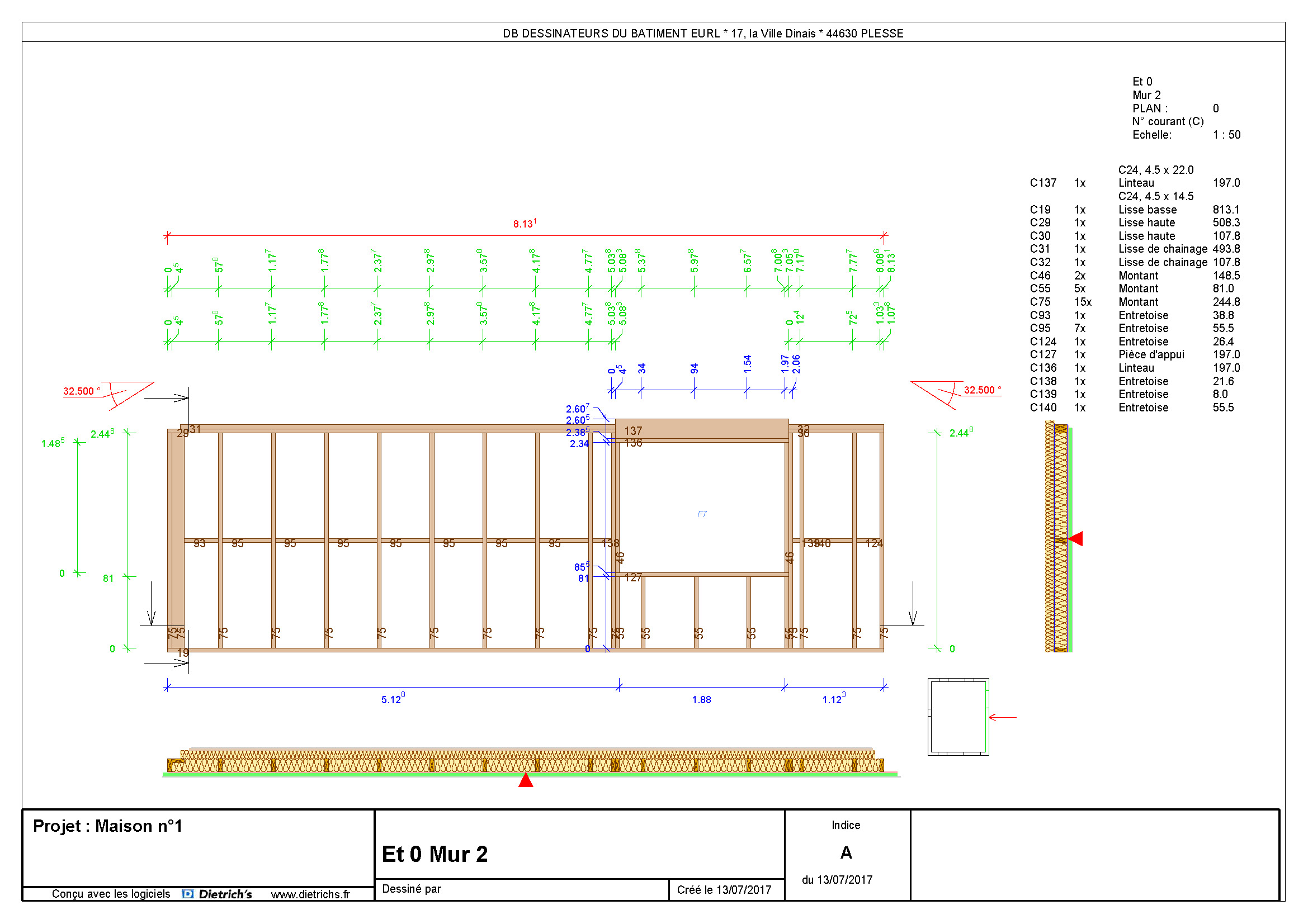 Plan de mur ossature bois 7